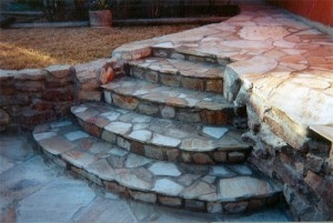 Stamped Concrete Flower Mound TX - McFall Masonry & Construction - rock-stairway-300x201